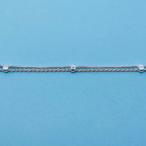 Genuine 925 Sterling Silver 7.5 Inch Double Strand Rope And Snake Chain Bracelet